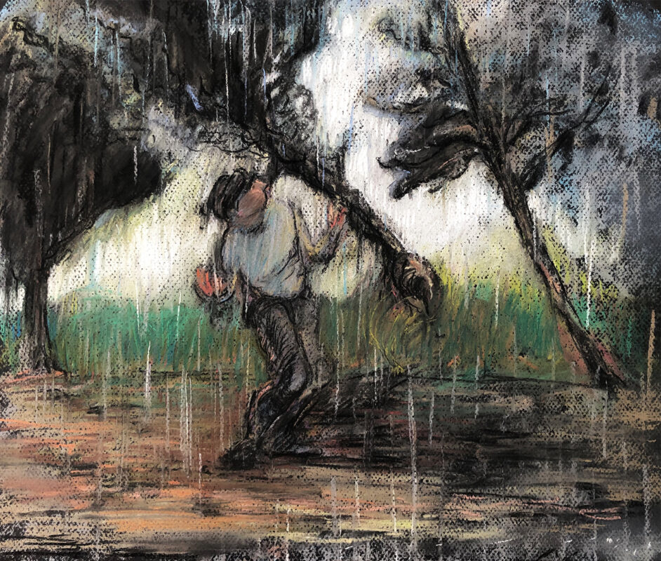 Zihao Chen, Rain, 2020. Pastel on paper. 17.5 x 14 inches.