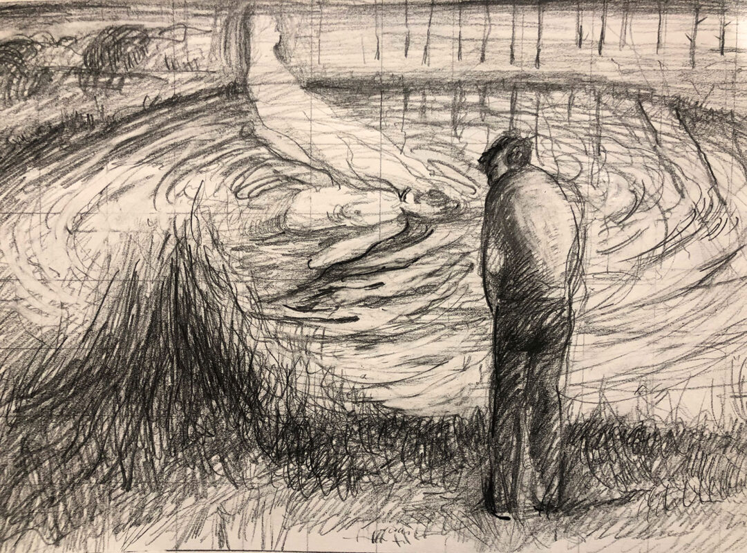 Zihao Chen, Drowning, 2020. Graphite on paper, 2020. 13.5 x 15 inches.