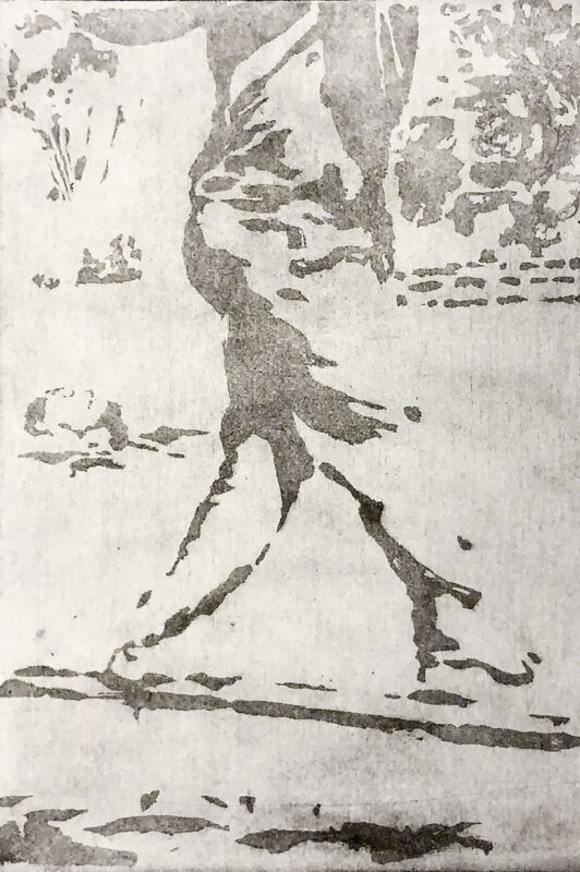 Zihao Chen, <i>Floating and Crossing Log Bridge</i>, 2020. Etching. 15 x 13 inches.