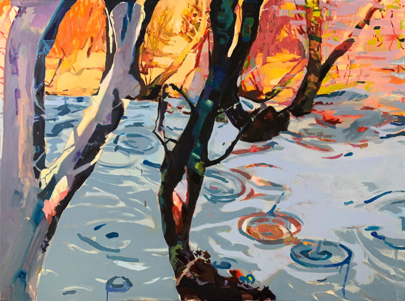 A painting titled Flooded Wood by Zihao Chen