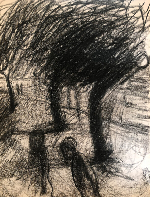 Zihao Chen, Night Walking, 2020. Charcoal on paper. 12 x 9 inches.