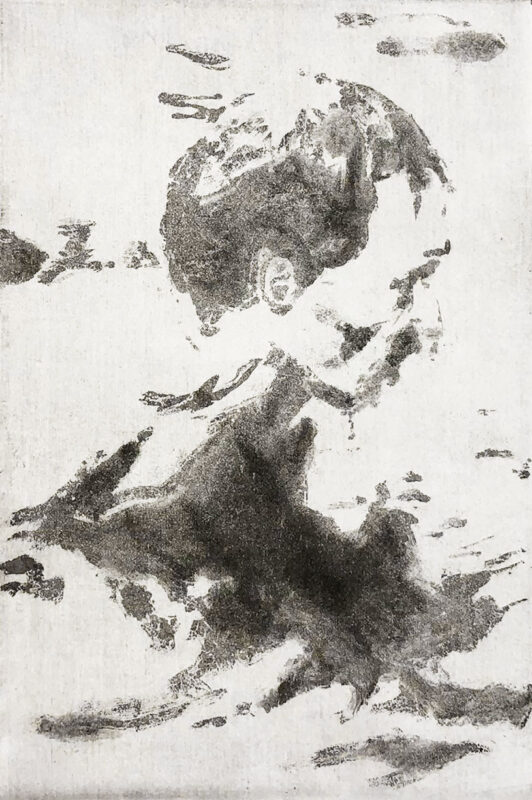 Zihao Chen, <i>The Man in the Water</i>, 2020. Etching. 15 x 13 inches.