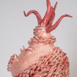 Ceramic Artwork by Carol Cao. The ceramic piece is colored pink. The overall shape is similar to a vase with a wide body with abstract shapes added onto the exterior. At the top are five forms that stick out from the top in a tentacle-like form. The background is solid grey.