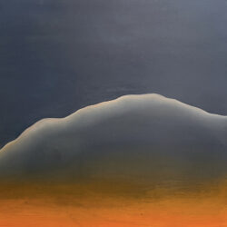 Detail of artwork. white linear mountain on two wood panels with blue and orange palettes' background