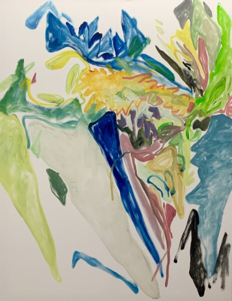 A painting of flowers. From the artist: Spring has arrived near me, and I love this season of hope, new birth and possibilities. I would like to depict my impression of flowers and all kinds of colors that I found in this season, through an abstract way.