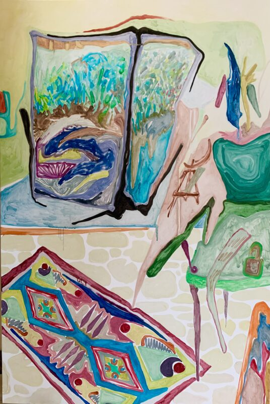 A painting of the artist's studio. From the artist: My studio once got robbed and messed up by some kids. They destroyed my paintings and tools, splendid paint on the floor, and left me with many thoughts. I painted this one just for a sober observation and thinking after that thrilling day. When things are settled, I have become less upset and started to appreciate the good side of things that are originally negative.