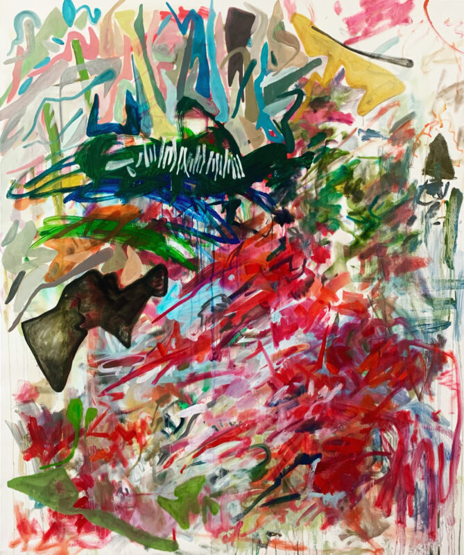 Abstract painting, painted quickly and sporadically. From the artist: These 2 paintings are also painted again after kid's naughty behaviors on my old paintings, in which they almost destroyed the whole image of these two by throwing paint randomly on them. I calmed myself down and started to look at them again, and finally I found a way to repaint them based on what have been prepared for me. I think they are reborn after this dramatic moment.