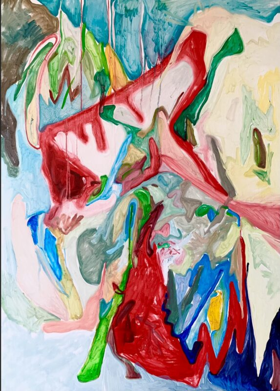 An abstract painting, painted quickly and loosely.