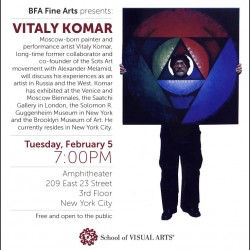 An advertisement for a lecture with Vitaly Komar. The lecture is on Tuesday, February 5, 2013 at 7pm. The lecture will be held at the SVA Amphitheater at 209 East 23 Street in New York City.