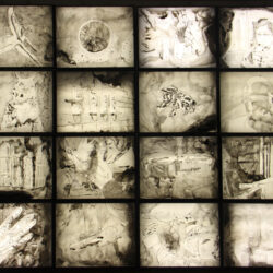 James Meyer, Memory Snowball, 2020. Sixteen ink-on-mylar drawings, lightboxes. 120 x 120 x 12 inches.