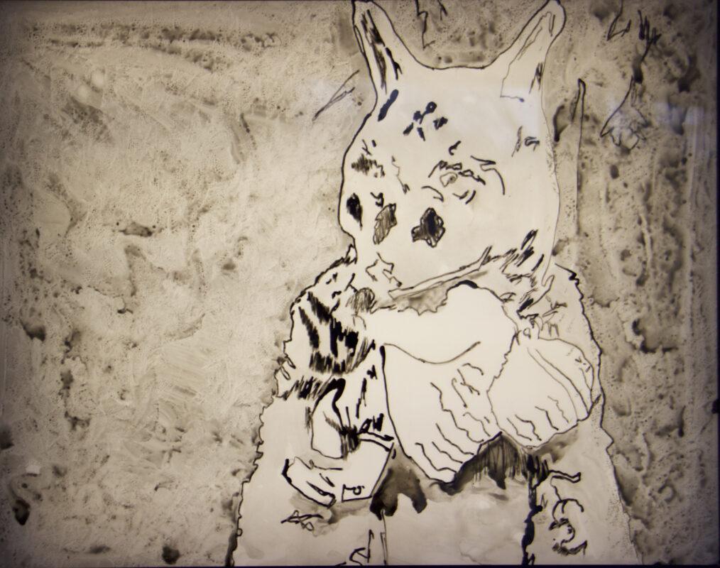 James Meyer, Wolf, 2020. Ink on mylar, lightbox. 24 x 30 x 3 inches.