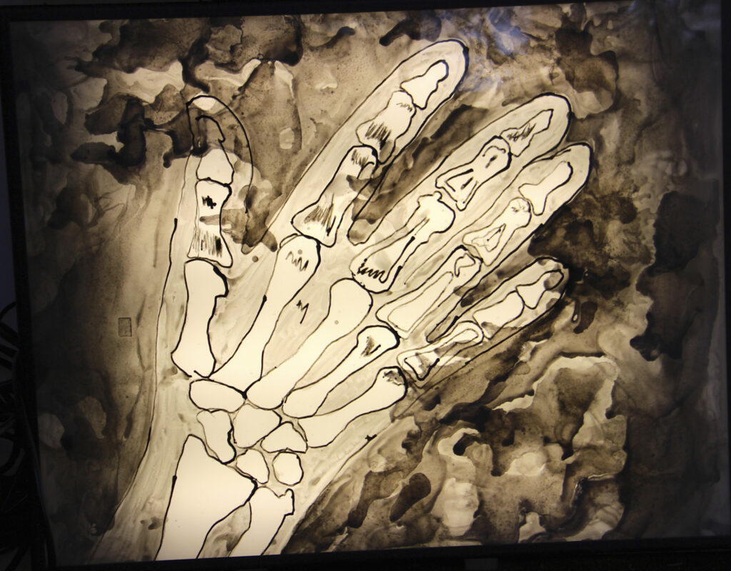 James Meyer, Crushed Hand, 2020. Ink on mylar, lightbox. 24 x 30 x 3 inches.