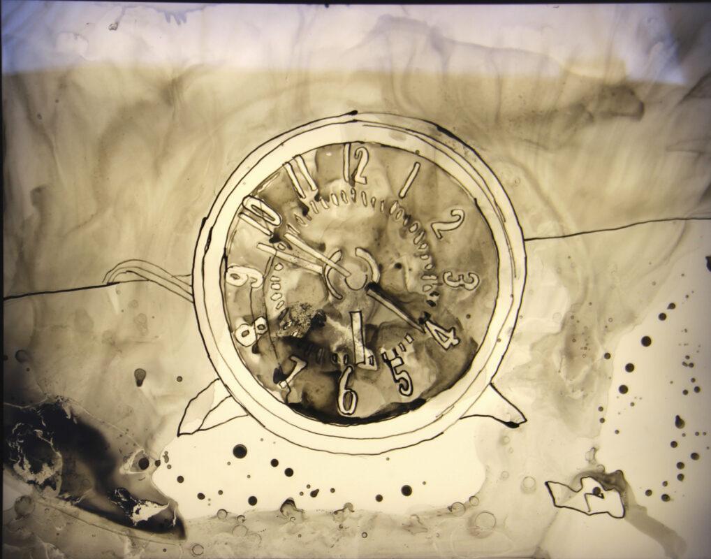James Meyer, Clock, 2020. Ink on mylar, lightbox. 24 x 30 x 3 inches.