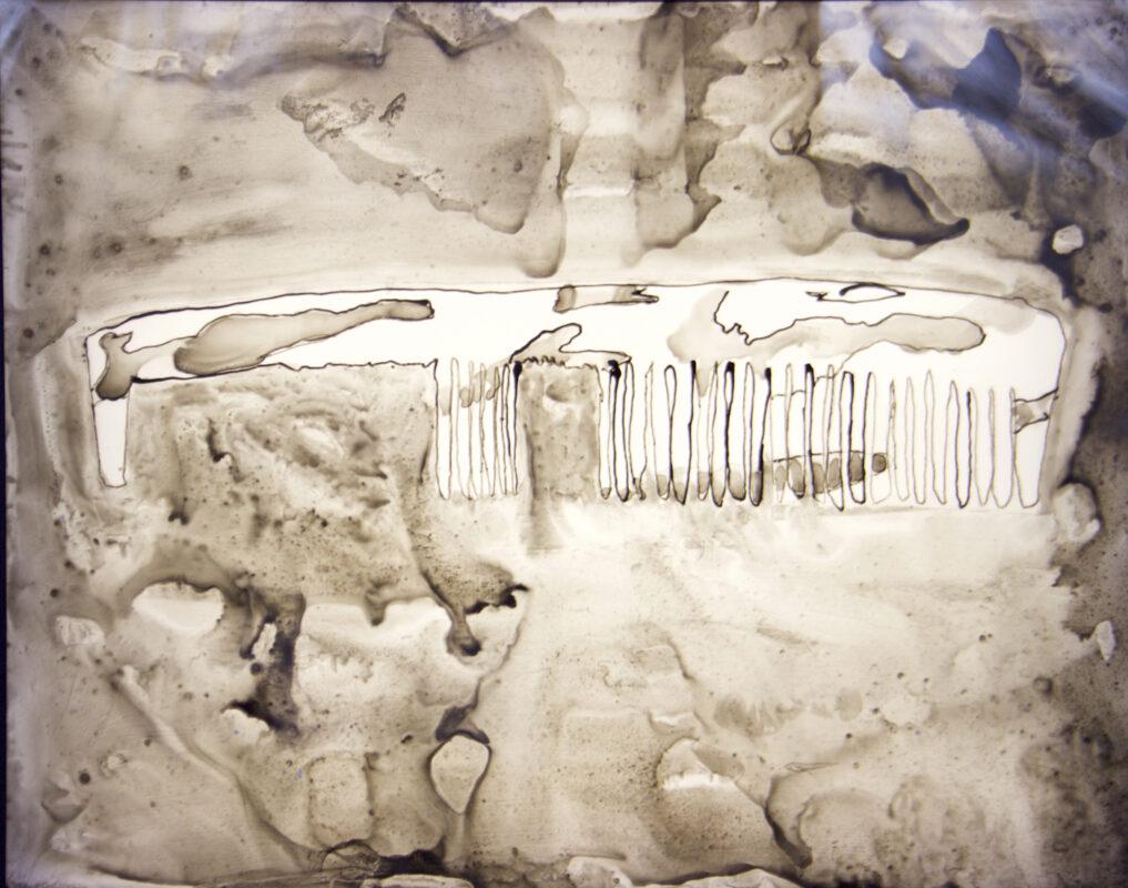James Meyer, Broken Comb, 2020. Ink on mylar, lightbox. 24 x 30 x 3 inches.