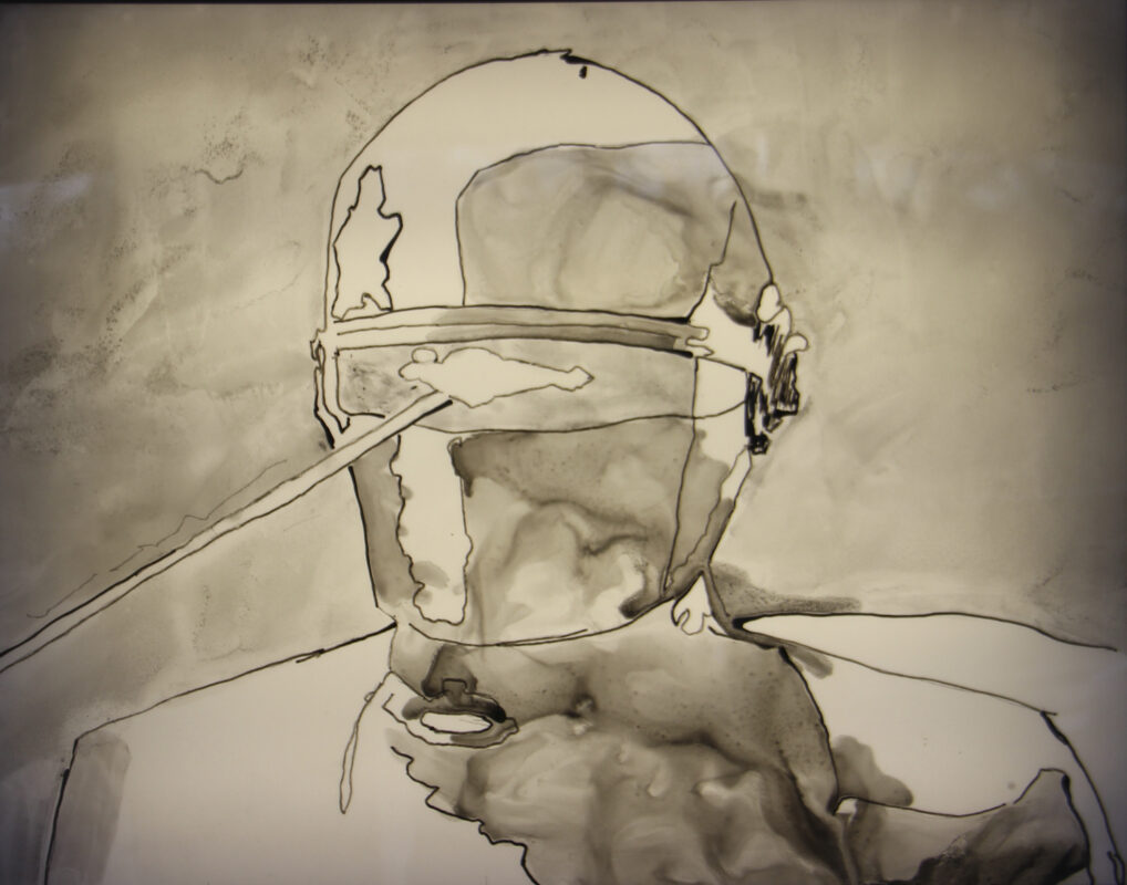 James Meyer, Gort: Intergalactic Police, 2020. Ink on mylar, lightbox. 24 x 30 x 3 inches.