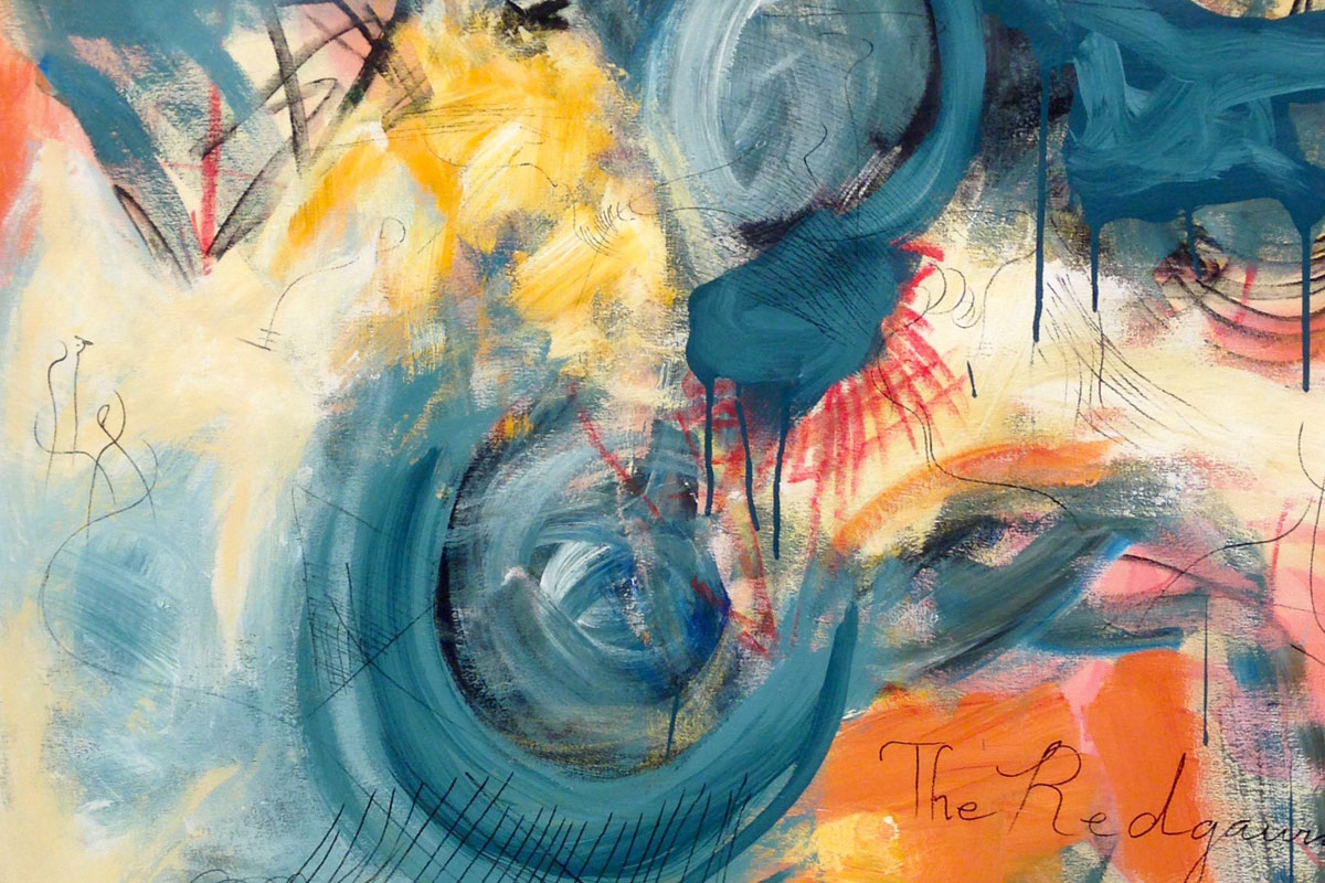 A mixed-media artwork by Li Zheng. The artwork features different abstract shapes and swirls of turquoise, orange, and yellow shades along with black lines across the surface.