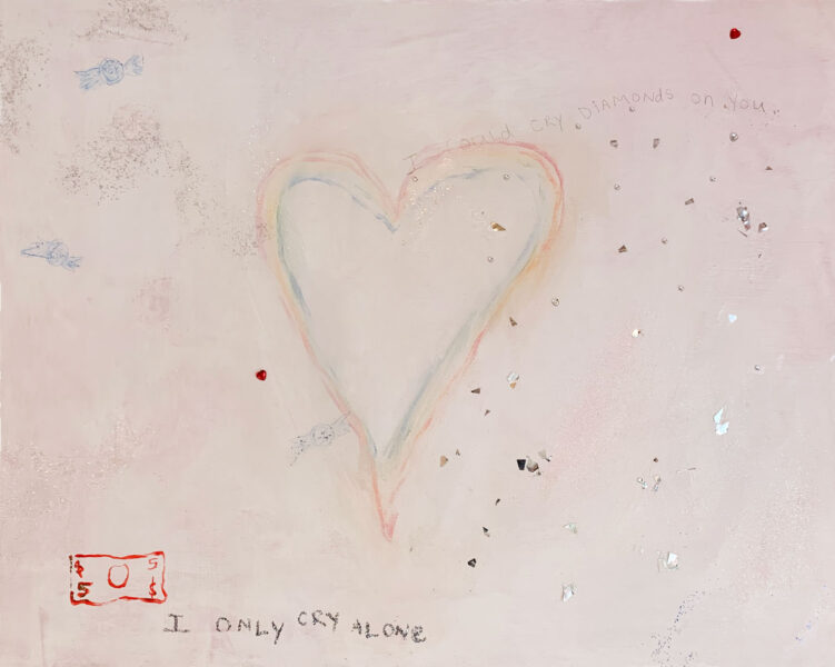 Nicole Tullo, i could cry diamonds on you, 2020. Acrylic paint, glitter and colored pencil on canvas, 30 x 24 inches.