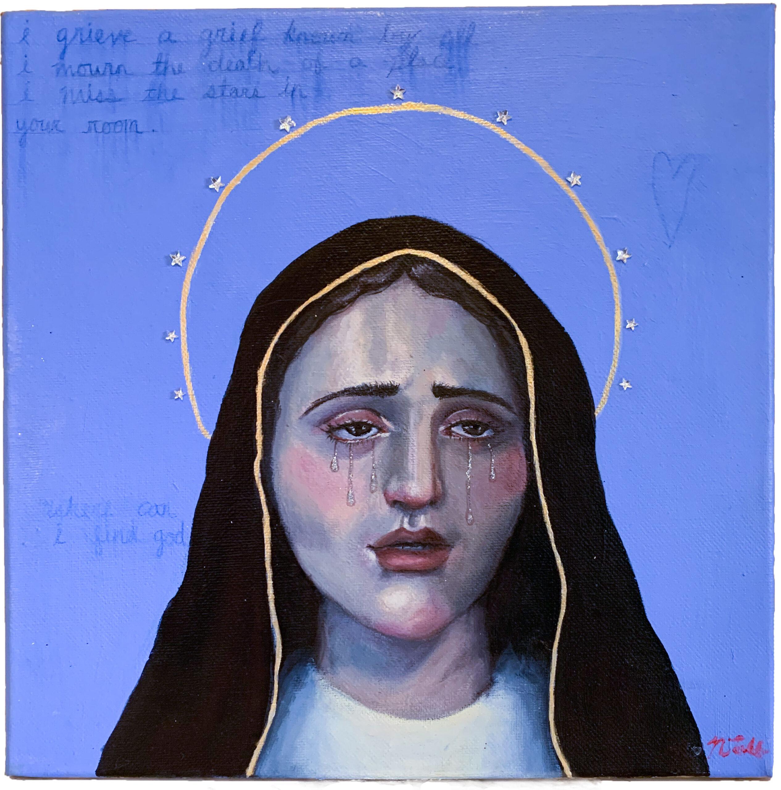 Nicole Tullo: mary, 2020, Acrylic Paint, Colored Pencil, Rhinestones, on Canvas, 12x12 inches.