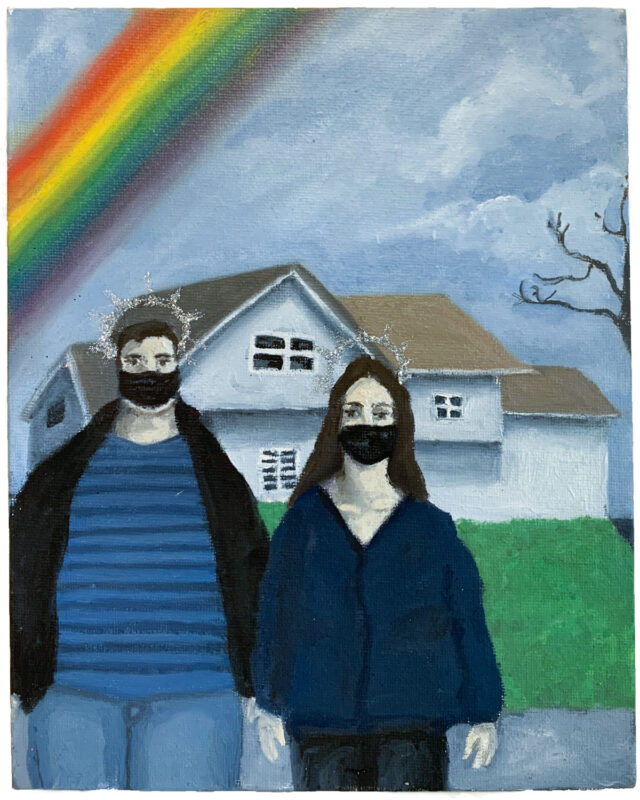 Nicole Tullo: new american gothic, 2020, Oil Paint, Glitter on Canvas, 8x20 inches.