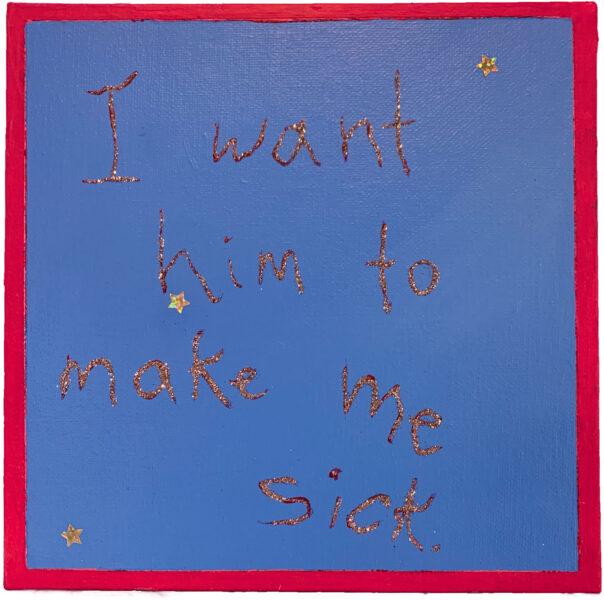 Nicole Tullo, sick, sick, sick, 2020. Acrylic paint, glitter and stickers on canvas board, 10 x 10 inches.