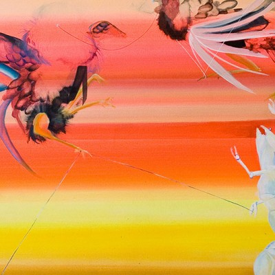 Colorful painting of abstract/symbolic animals over a red, orange and yellow background.
