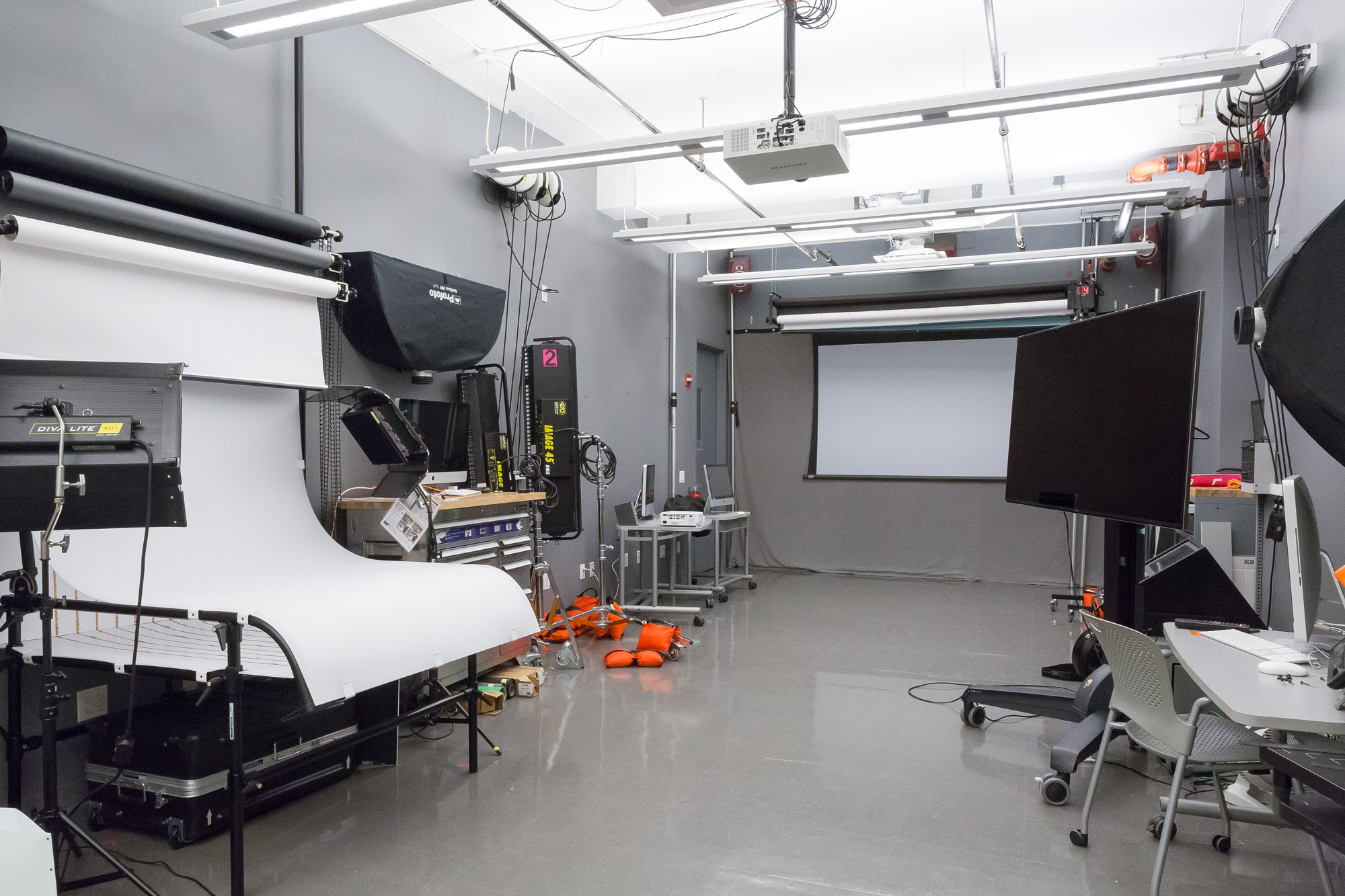 The BFA Fine Arts Photo and Video Capture Studio, showing a shooting table, light modifiers, LED Lamps, and a video monitor.