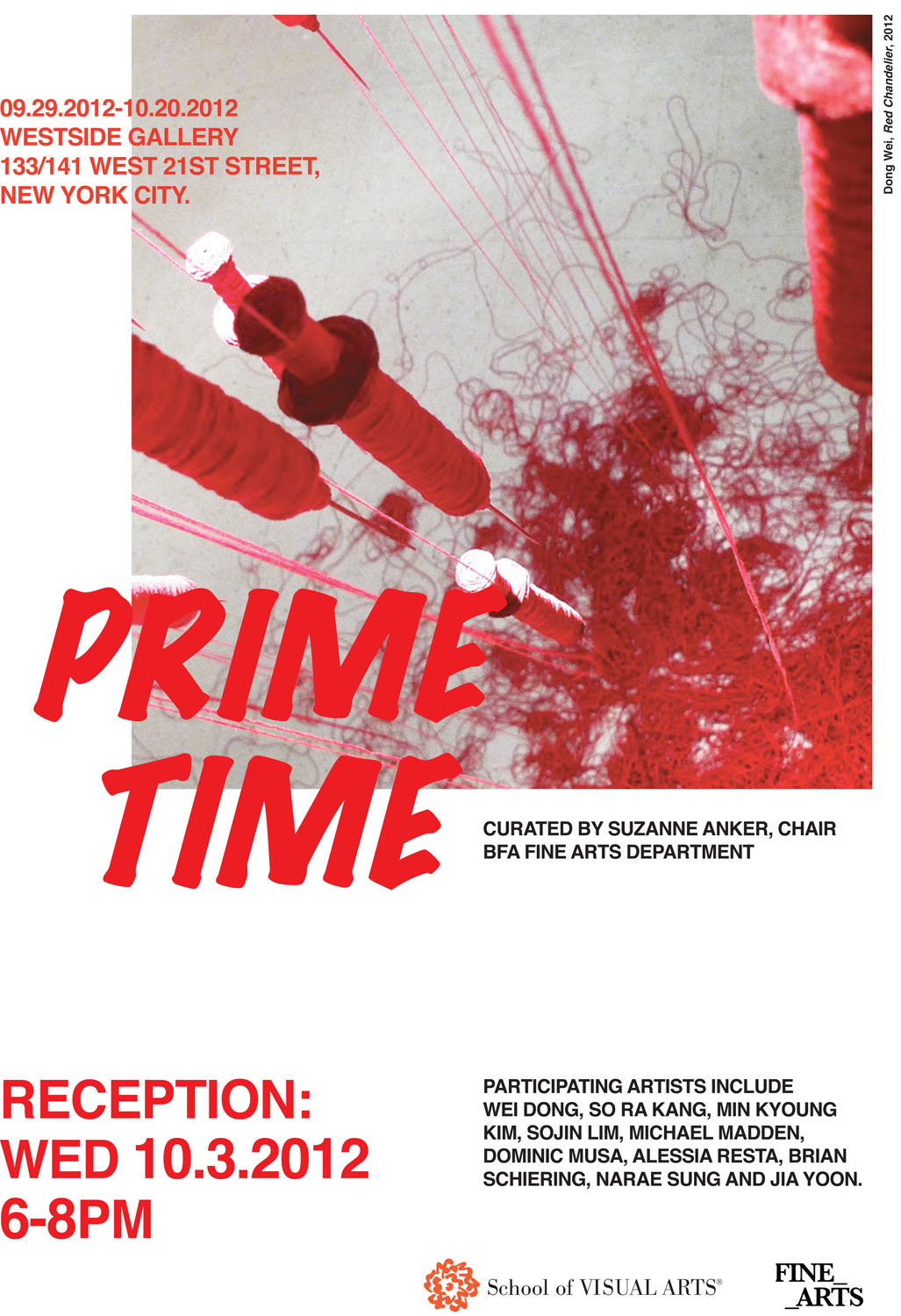 An advertisement for an exhibition at the SVA Westside Gallery titled, Prime Time. The exhibition is on view from September 29 through October 20, 2012. The post features an artwork by Dong Wei.
