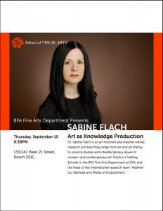 An advertisement for a lecture with Sabine Flach at the School of Visual Arts. Thursday, September 15, 2012 at 6:30pm. The post shows a photograph of Sabine Flach against a sold brown background.