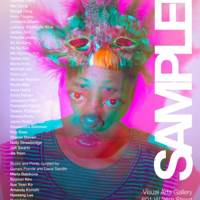 An advertisement for the exhibition titled, Sampler, at the Visual Arts Gallery. The exhibition is on view from February 2 - 16, 2013. A reception will be held on Thursday, February 7, from 6-8pm.