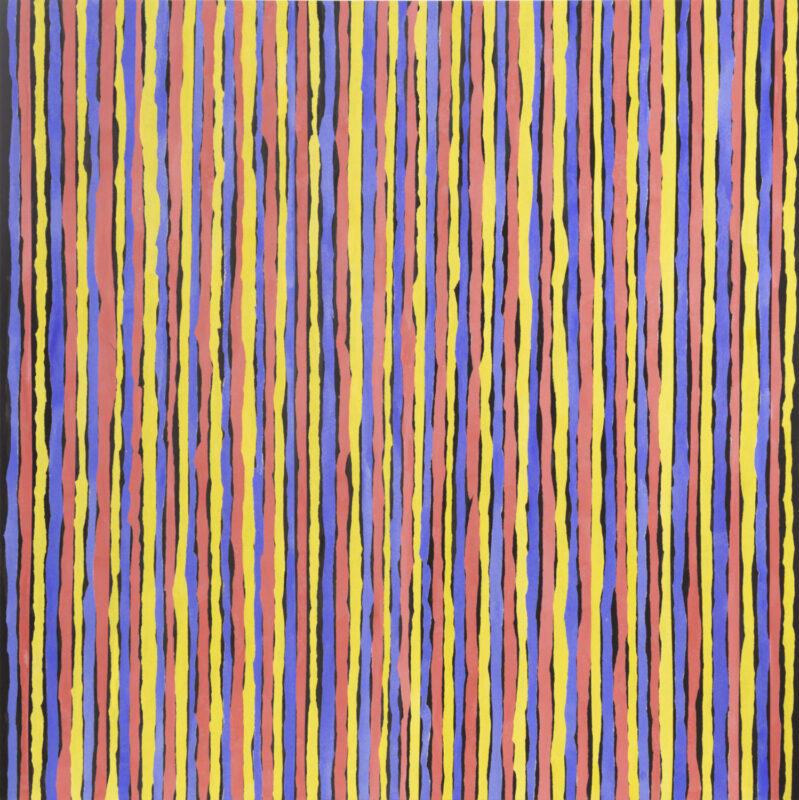Kun Kyung Sok, Black Vertical Cracks, 2020. Rice paper on muslin. 50 x 50 inches.