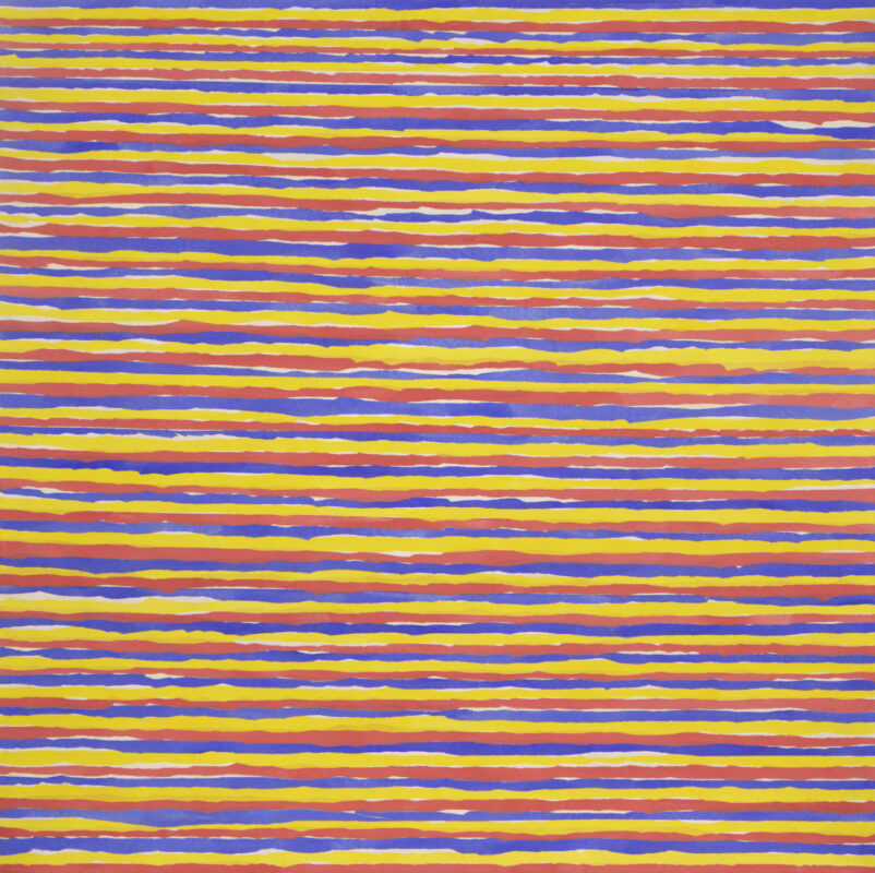 Kun Kyung Sok, White Horizontal Cracks, 2020. Rice paper on muslin. 50 x 50 inches.